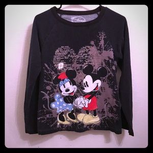 Disney Mickey Minnie T Shirt Black Long Sleeve XL